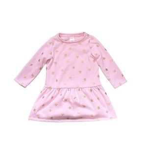 Gymboree pink and gold star print dress 2T